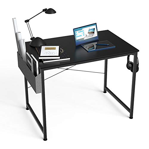 HOMIDEC Escritorio de Ordenador, Mesa de Oficina pequeño , Mesa de Ordenador con Bolsa de Almacenamiento ,Fácil de Montar, Mesa de Escritura para Oficina en Casa,80 x 60 x 75 cm (Negro)