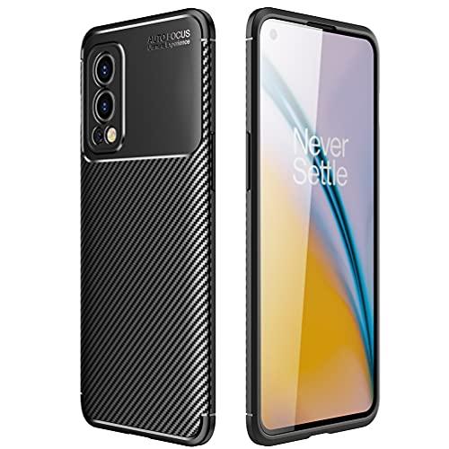 DOINK Ultra Silicone Hülle für OnePlus Nord 2, Kohle Faser StoßFest Bumper Handyhülle - Schwarz