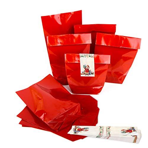25 x WeihnachtsVerpackung Papiertüte Weihnachten Beutel ROT glänzend 14 x 22 x 5,5 + 25 Weihnachtsaufkleber - Verpackung Weihnachtsmann bunt Geschenke Geschenkpapier weihnachtlich