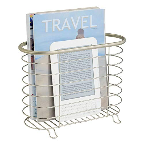 mDesign Decorative Metal Farmhouse Magazine Holder and Organizer Bin - Standing Rack for Magazines, Books, Newspapers, Tablets in Bathroom, Family Room, Office, Den - Satin