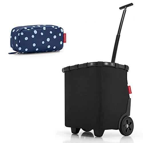 reisenthel - 2tlg. Einkaufsset carrycruiser und multicase Einkaufskorb Einkaufstrolley Set Rolltasche Case Kosmetik Kosmetiktasche (Frame Black)