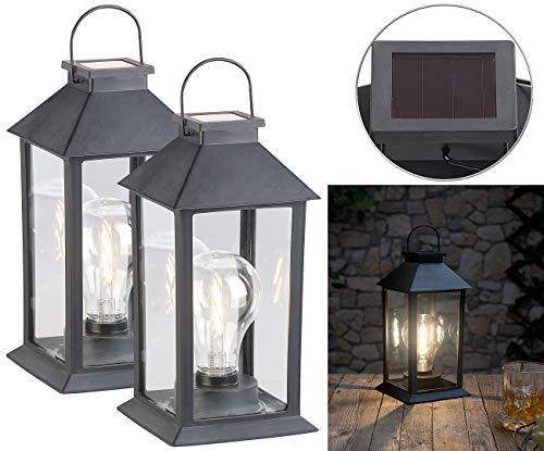 Lunartec Solar LED Lampe: 2er-Set Solar-Laterne mit LED-Glühbirne, Dämmerungs-Sensor, Akku, 5 lm (Solar-Deko-Laterne mit Glühbirne)