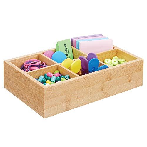 mDesign Sortierbox – praktischer Organizer mit 6 Fächern für den Schreibtisch – Sortierkasten aus Bambus zur Aufbewahrung von Notizzetteln, Büroklammern & Co. – naturfarben