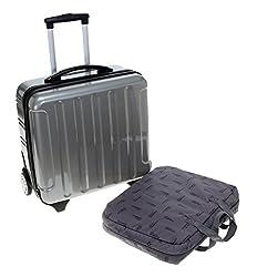 FABRIZIO Trolley PROTECT Laptoptrolley Hartschale Pilotenkoffer Trolly TSA Schloß / PLATIN SILBER