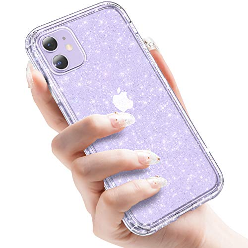CASEKOO Crystal Glitter Compatible with iPhone 11 Case, [Yellow-Resistant] Bling Clear & Shockproof Protective Hybrid Phone Cases Thin Slim Cover (6.1 inch) 2019- Twinkle Stardust