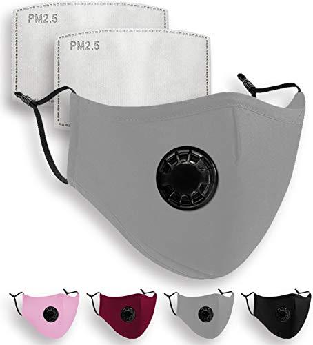 Luftty Behelfs Mundschutz, Mund und Nasenschutz mit Filter, Ventil   Maske grau und versch. Farben   Gesichtsmaske waschbar mit verstellbaren Ohrschlaufen   Innen Baumwolle (Ventil - Grau)