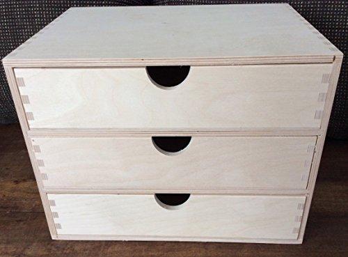 WoMa Kreativ Shop / deutschlandweit einziger Anbieter diesen Hersteller 3er Aufbewahrungsboxen Format A4 Schubladen Holzkiste Decoupage Geschenk DECOUPAGE Pyrography
