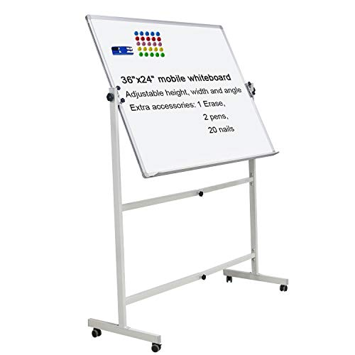 Mobile Dry Erase Board Magnetic Whiteboard on Wheels (Aluminium Frame) 36'x24' Portable White boards with Rolling Stand for Classroom, Office, Home