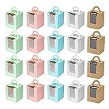 Caja de Regalo Para Muffins Caja de Transporte Para Cupcakes Caja de Cupcakes Individual Caja de Pastel con Ventana Caja de Magdalenas Portátil Para Bodas Decoraciones o Regalos 30 Piezas 5 Colores