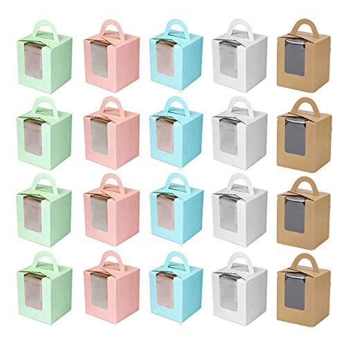 Caja de Regalo Para Muffins Caja de Transporte Para Cupcakes Caja de Cupcakes Individual Caja de Pastel con Ventana Caja de Magdalenas Portátil Para Bodas Decoraciones o Regalos 30 Piezas 5 Co
