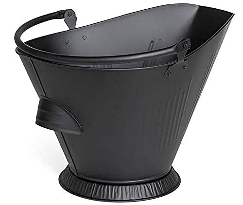 New Durable Black Fireplace ash Bucket with fire pits Stove Sturdy Ashes Carrier Container