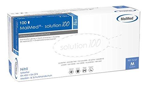 Maimed Nitril Handschuhe, blau, solution 100, Art.Nr. 76167, VE 100 Stück - Größe M