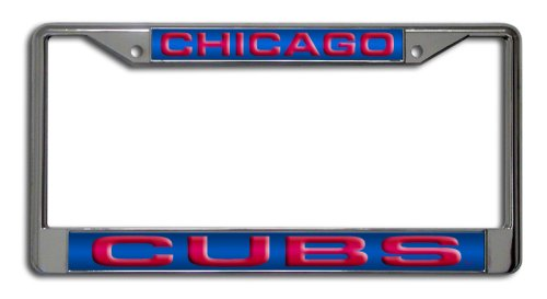 Rico Industries MLB Chicago Cubs Laser-Cut Chrome Auto License Plate Frame