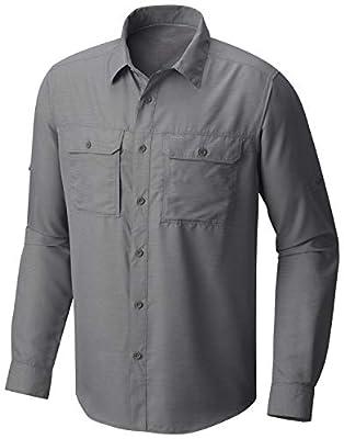 Mountain Hardwear Men's Canyon Solid Long Sleeve Shirt for Hiking, Climbing, Camping, and Casual Everyday - Manta Grey - Medium