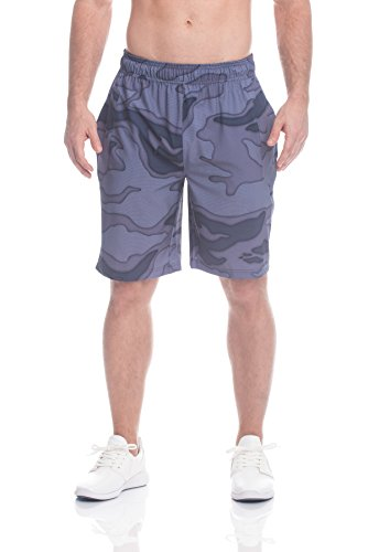 Reebok - Pantalones cortos deportivos, con cordón ajustable, perfectos para correr y entrenar, para hombre - REM171SH37003, Large, Camuflaje azul marino