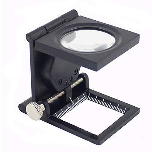 aipipl Tragbare Faltinspektion Stoff Lupe Metall mit LED-Beleuchtung 10-fache Zinklegierung Fototuch mit L Light ED Metall mit Skala