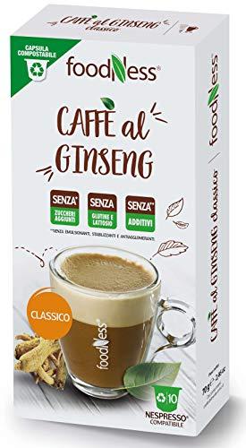 Foodness Capsula Caffè al Ginseng classico compatibile Nespresso - 5 Confezioni da 10 Capsule [Tot. 50 Capsule]