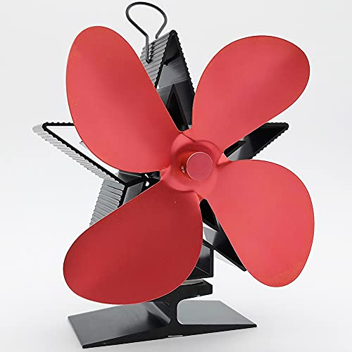 EastMetal Ventilador de Chimenea, Ventilador de Estufa de Calor con 4 Cuchillas, Silencioso Ecológico Calor Accionado no Requiere Batería o Electricidad, para Estufas de Leña/Leña/Chimenea(Red)