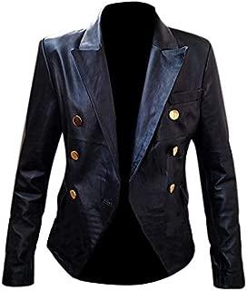 New Kim Kardashian Double Breasted Blazer Style Leather Jacket