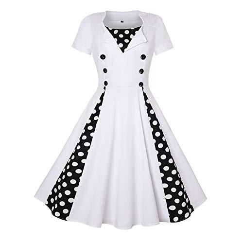SLYZ Mujeres Europeas Y Americanas Moda Lunares Costura Retro A-Line Big Swing Vestido Casual Mujeres