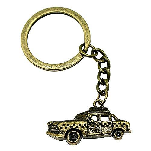 Zbzmm Sleutelhanger Accessoires Sleutelhanger Ringen Taxi Creatieve Handgemaakte Verjaardagscadeaus 32x17mm Hanger Antieke Brons