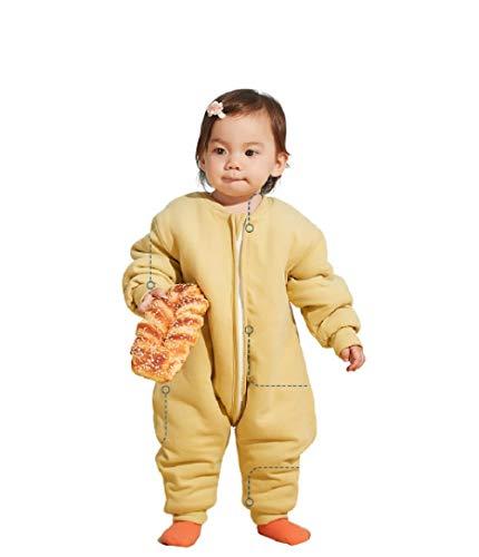Schlafsack,Unisex Baby Overall Schlafsack, Baby Winter warme Pyjamas-Gelb_90cm