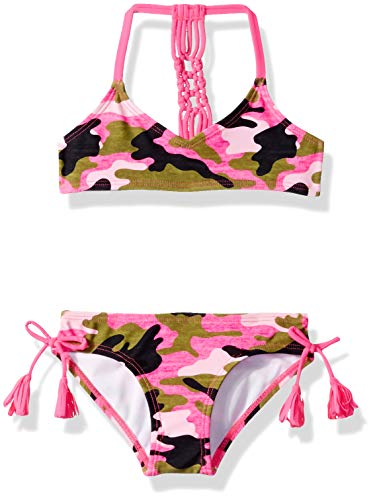Kanu Surf Girls' Little Willow V-Neck Bikini Beach Sport 2-Piece Swimsuit, Erin Pink Camo, 6X