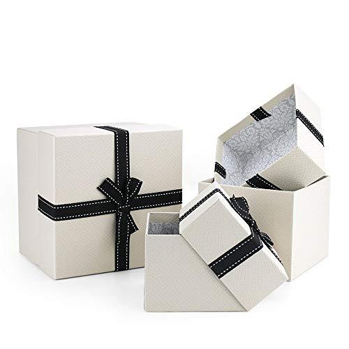 VEESUN Geschenkboxen 3 Set Verschiedene Größen, Luxus Präsentation Geschenkkarton mit Deckel, Dekorative Pappschachteln für Hochzeit Weihnachten Geburtstagsgeschenk Freund sie, Beige mit Band, MEHRWEG