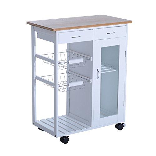 HOMCOM Küchenwagen Beistellwagen Küchentrolley Küchenrollwagen Servierwagen Holz (Modell3)