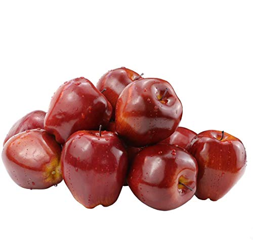 BcPowr 12PCS Fake Fruit Apples Artificial Deep Red Apples Artificial Lifelike Simulation Red Apples Fake Fruit Home House Display Decoration for Still Life Paintings Kitchen Decor (Red, 3.15