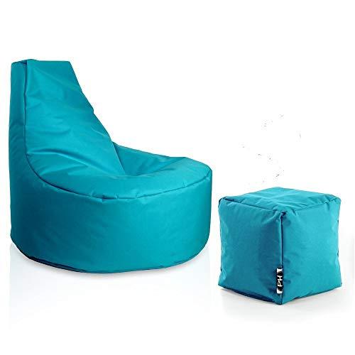Patchhome Gamer Sessel inkl. Würfel Bean Bag Set Ø75cm, 30cm Sitzhöhe, 80cm Höhe + 35x35cm Würfel Türkis