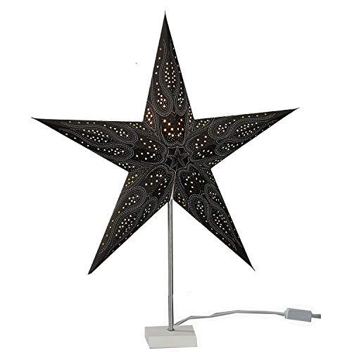 Annastore Papierstern Ø 60 cm - Sternlampe zum Hängen - Weihnachtsstern (Schwarz - Deluxe)