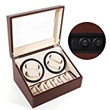SHZICMY Automatic Watch Winder Display Box, 4+6 Leather Rotating Display Box Luxury Storage Case (USA Stock) (Brown)