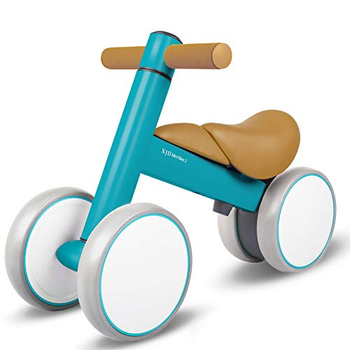 XJD Baby Balance Bikes Baby Toys for 1 Year Old Boy Girl 12-36 Months Adjustable Height Toddler Bike Infant No Pedal 4 Wheels Bicycle First Birthday Gift Children Walker, SkyBlue