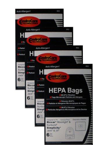 EnviroCare 24 sacos de aspirador de pó tipo Z HEPA para luz da lua