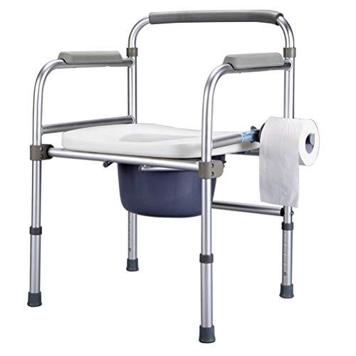HONYGE LXGANG - Taburetes de baño para personas mayores con asiento plegable de aluminio, marco de seguridad para inodoro compatible con sillas de ducha bariátricas para personas mayores