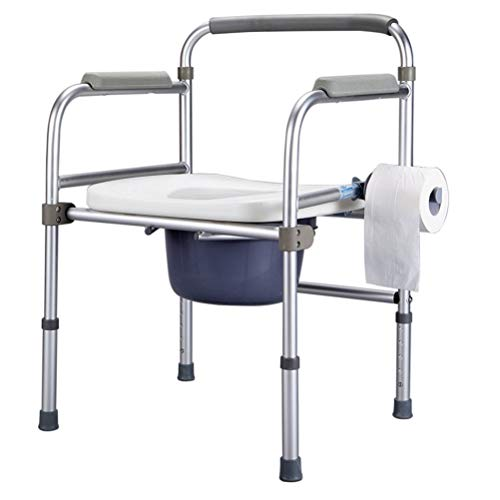 YHtech La cómoda del Asiento de la Silla de Ducha Plegable de Aluminio medicas moviles for los Mayores de la desventaja bariátrica Aseo Ancianos Bastidor de Seguridad Fácil de Manejar