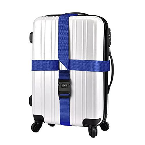 FEimaX Cinghia per Valigia, Cintura di Sicurezza Croce Regolabile per Bagagli Pesanti, Cinghie Valigie per Imballaggio da Viaggio, con Lucchetto a Combinazione