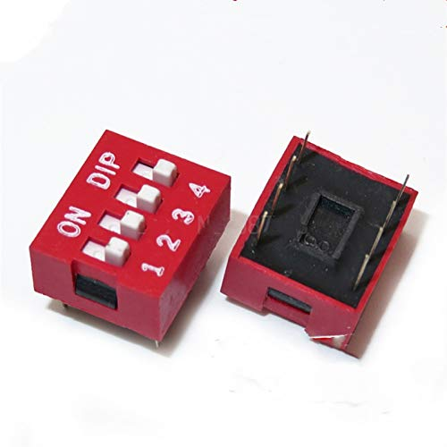 aolongwl Interruttori a levett 10PCS Dip Switch a 4 Vie 2,54 Millimetri Toggle Switch Red Snap Interruttore