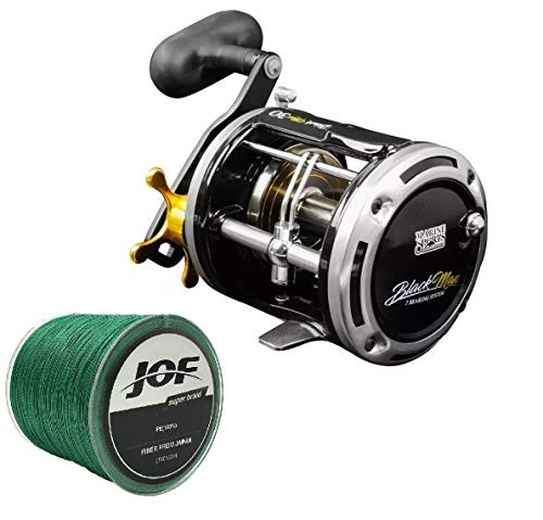 Carretilha Pesca Perfil Alto Black Max 50 e linha Multi 300m