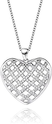 Collar Mujer Collar Collar de hombre Colgante Collar de plata Cuadrícula de mujer Corazón de amor creativo con circones con incrustaciones Hermosos collares Joyas Pendientes Regalos para esposa Mamá A