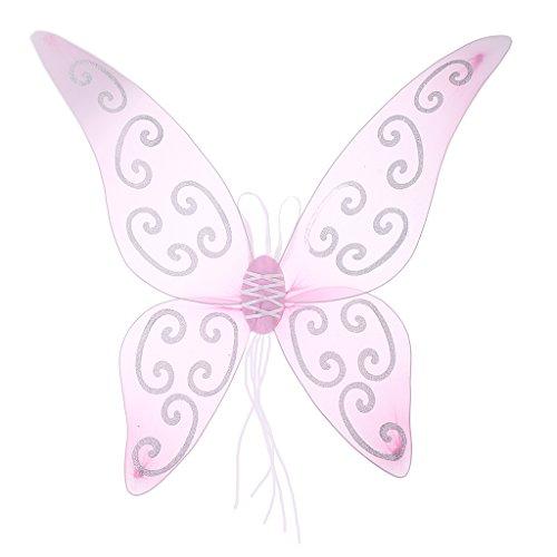 Ali di Tulle Cosplay Farfalla Angelo Fatato Ala di Vestito Operato Accessori di Foto di Compleanno Festa - Rosa
