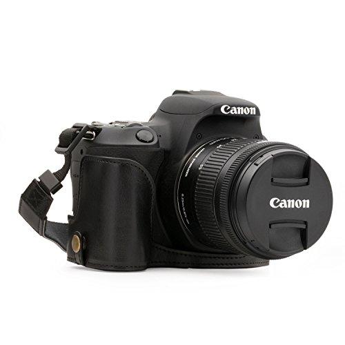 MegaGear MG1306 Etui avec Bandoulière/Accès Batterie en Cuir pour Appareil Photo Canon EOS Rebel SL2/EOS 200D/Kiss X9 Noir