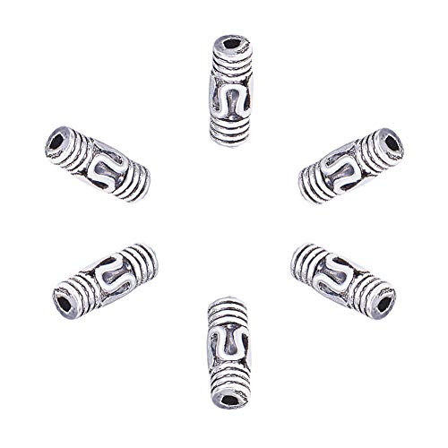 Tibétain Tube Spacer Beads 5 x 9 mm argent antique 30 pcs Art Hobby À faire soi-même Bijoux