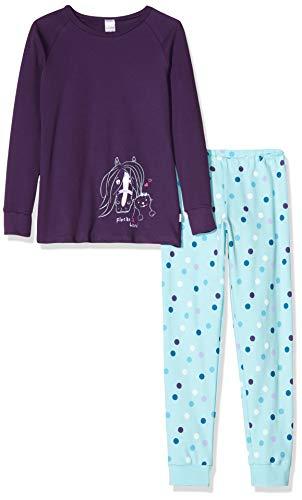 Schiesser Mädchen Ponyhof Md Anzug lang Zweiteiliger Schlafanzug, Blau (Lila 820), 98 (Herstellergröße: 098)
