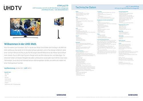 Samsung MU6179 123 cm (49 Zoll) Flat Fernseher (Ultra HD, HDR, Triple Tuner, Smart TV)