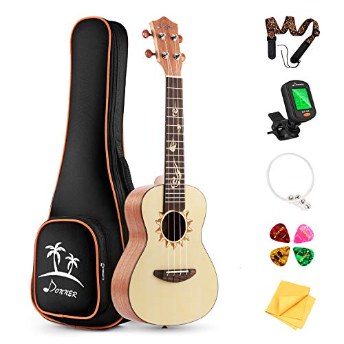 Donner Tenor Ukulele DUT-3 26 inch Spruce Body Sun Pattern Ukulele Kit with Tuner Strap String Case
