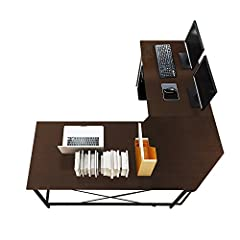 [Large Dimensions] (59+59)L * 21.7W * 30H inch, providing large working space, extra PC holder help to prevent your computer host moisture. [L-Shaped Design] Double Wide desktop of E1 degree solid particle wood with high resistance on scratch & frict...