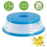 Klappbare Mikrowellenabdeckung, Faltbare Mikrowellenabdeckhaube klappbar, für Mikrowellenteller, verhindert Spritzen, auch als Obstfilterkorb, BPA-frei (Blau)