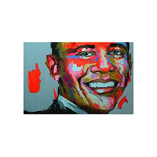sjkkad Barak Obama Gemälde Francoise Nielly Sty Farbe Wandkunst Poster High Definition Mimeograph Abstractl Für Wohnkultur -50x75cm Kein Rahmen